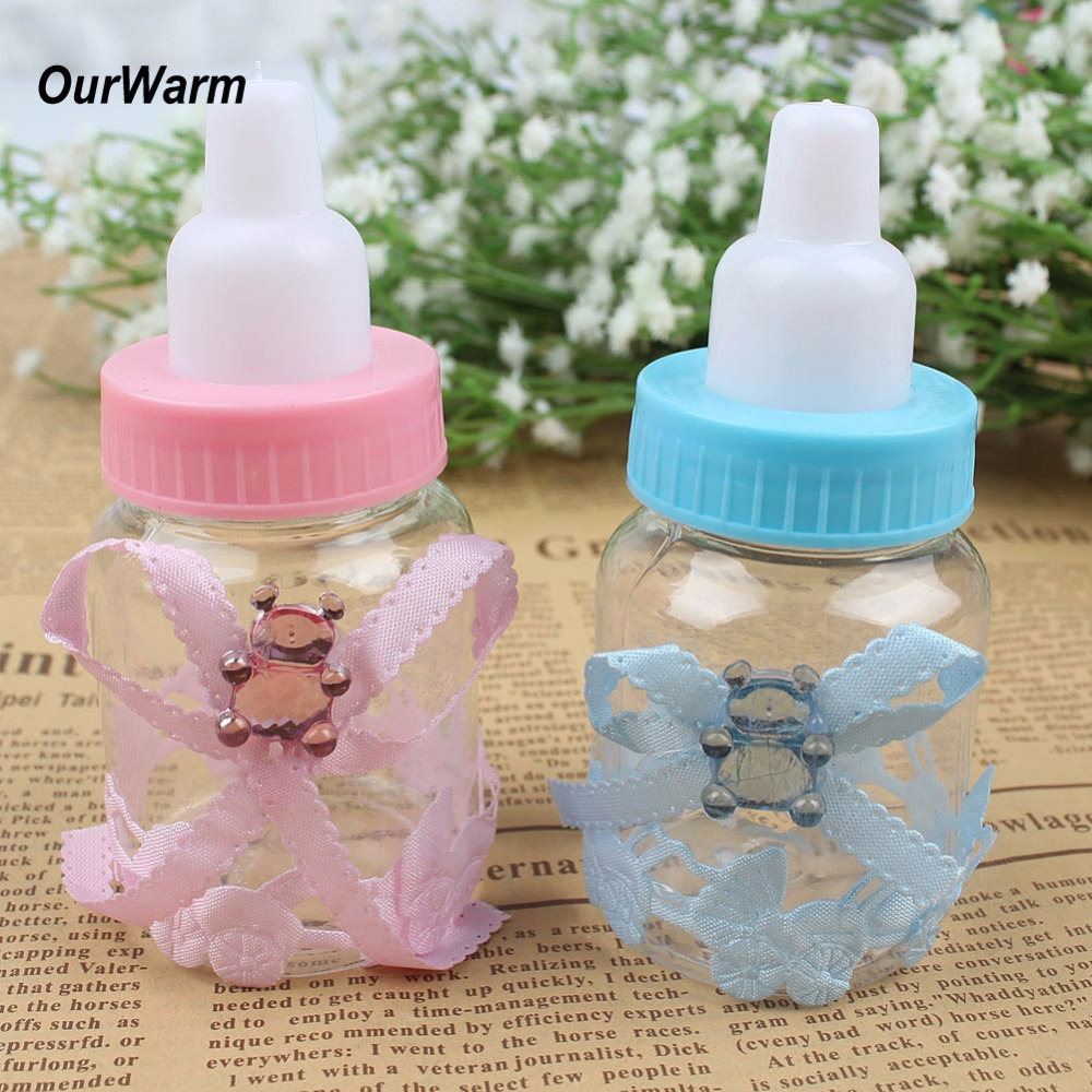 Ourwarm 60pcs Pink/Blue Plastic Bottle Candy Box Baby Shower Baptism Christening Birthday Gift Wedding Party Sweets Favors