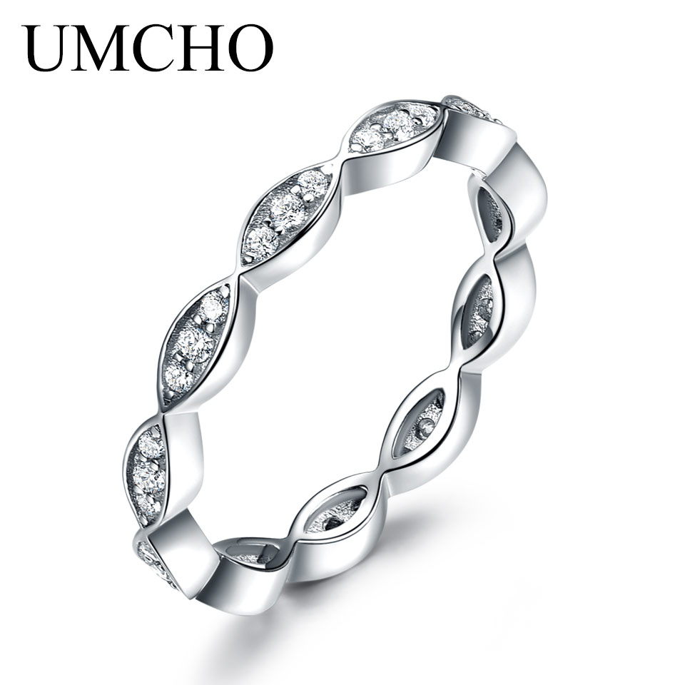 UMCHO Infinity Forever Kærlighed Aniversary Promise Wedding Band Engagement Ring Brude Ring 925 Sterling Sølv Ringe For Kvinder 2019