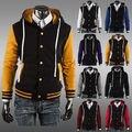 New Men's Varsity Letterman Hoodie Baseball Jacket Top Design Slim Sweatshirt 8 Color