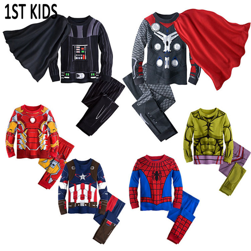 2019 Spring Kids Pajamas Clothes For Boys Hulk Superhero Batman Iron Man Spiderman Children Sleeping Wear Clothing Sets DB493