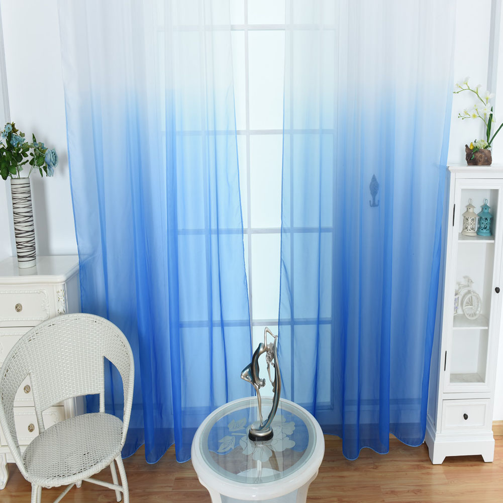 Modern Gradient Color Window Tulle Curtain Sheer Drape