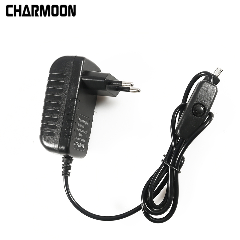 5V 3A Power Supply Charger AC Adapter Micro USB Cable With Power On/Off Switch For Raspberry Pi 3 Banana  Pi 4 4 Model B B+ Plus