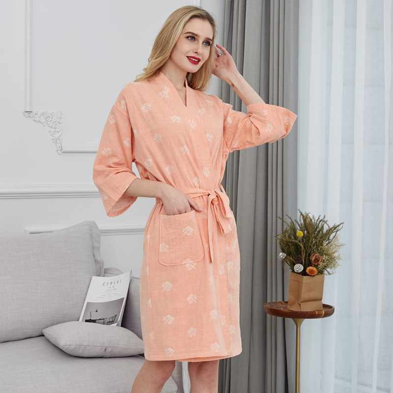 Yeni Varış Yaz 100% Pamuk Gecelik Seksi bornoz kadın Pijama Çift katlı Gazlı Bez Sleepshirts Kadın Ev Bornoz