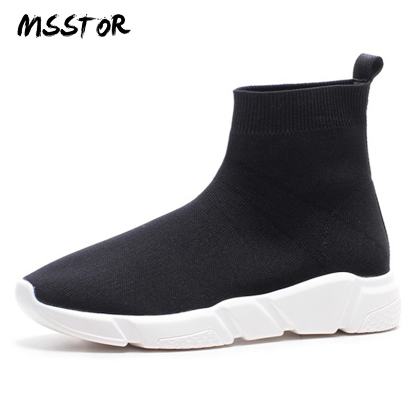MSSTOR Round Toe Black Platform Shoes Fashion Casual Rubber Slip On Woman Shoes 2018 Spring High
