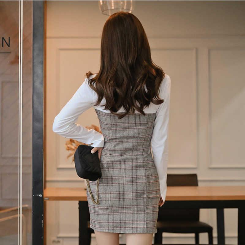 BGTEEVER OL стильное клетчатое лоскутное платье с отложным воротником женское короткое платье с длинным рукавом облегающее мини-платье женское тонкое Vestidos femme
