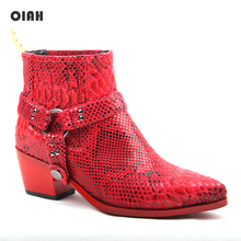 цены 2019 Autumn New Style Women Boots Pointed Toe Synthetic Ankle Boots Lady Shoes Serpentine Synthetic Leather Female Fashion Boots