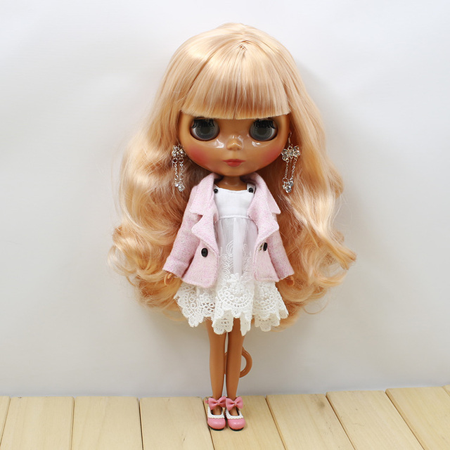 Neo Blythe Doll White Dress Suit Pink Coat