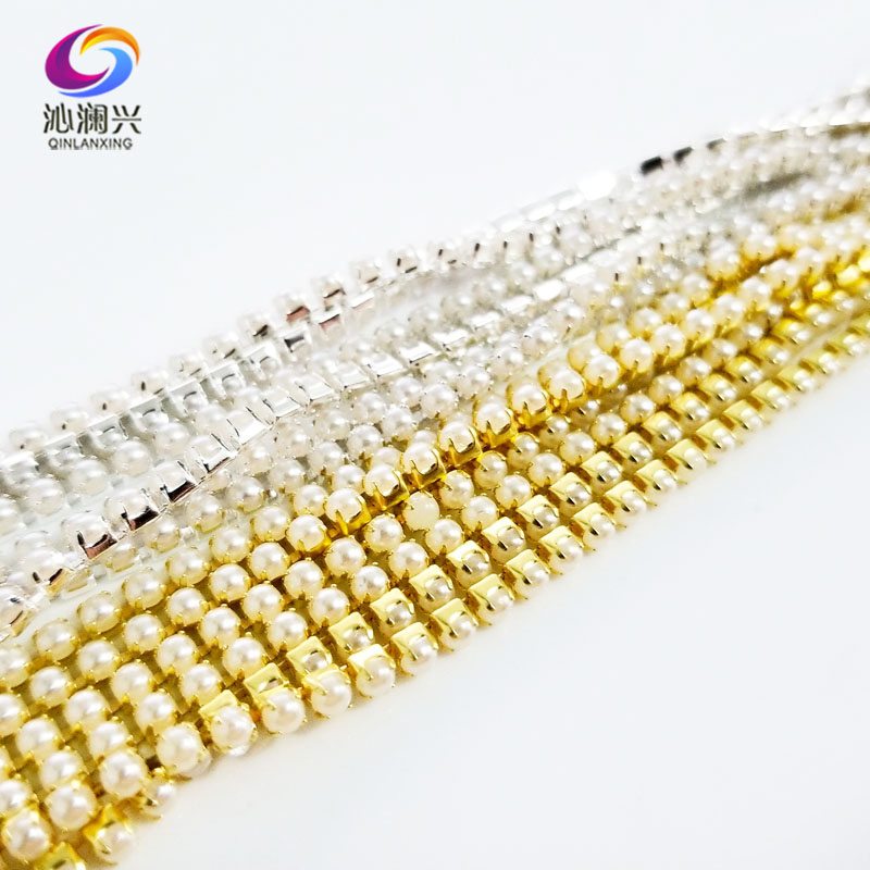 1m SS8 2.5mm sew on pearl rhinestones chain,Encrypt the Pearl drill chain DIY/Wedding Dress Decoration/Sewing Accessories image