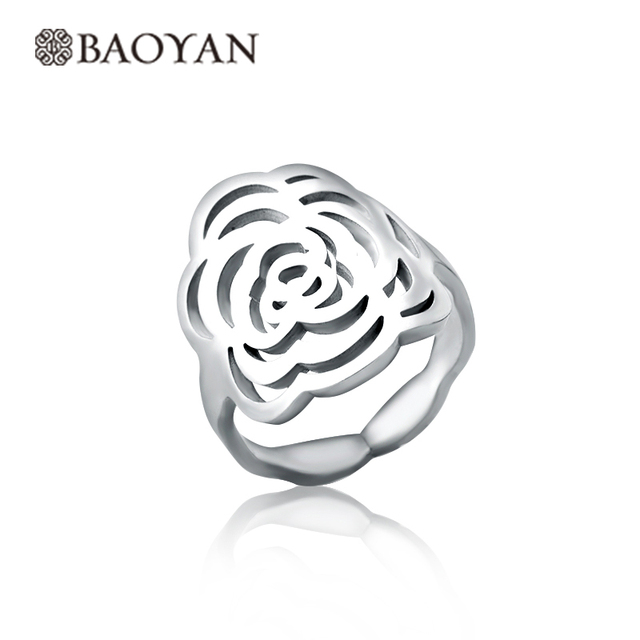 New 316L Stainless Steel Rings For Women Hollow Silver Plated Rose Flower Rings