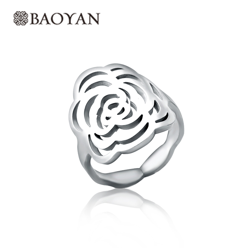 New 316L Stainless Steel Rings For Women Hollow Silver Plated Rose Flower Rings Women Anel Bague Femme New Year Gift Wholesale
