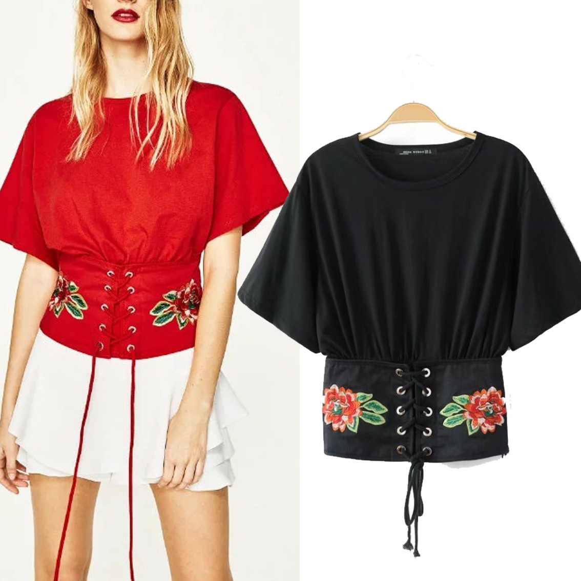Aliexpress buy corset floral embroidery t shirt