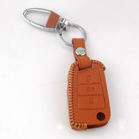 Brown Leather 3 Botton Flip Remote Key Holder Cover Fob Case Fit For VW Golf 7 MK7 GTI