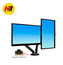 New NB F180 Gas Spring Full Motion 17-27 Dual Screen Monitor Holder Desktop Clamping/ Grommet TV Mount With Two USB Ports