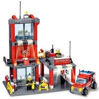 KAZI City Fire Station 300pcs Building Blocks Compatible All Brand City Truck Model Toys Bricks With