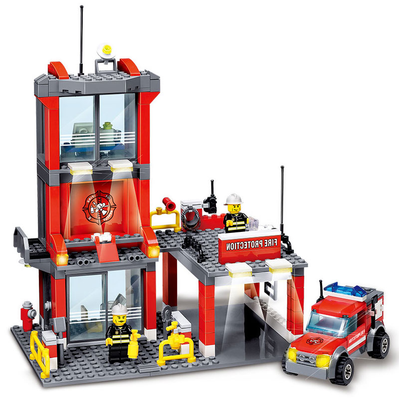 KAZI City Fire Station 300pcs Building Blocks Compatible all brand city Truck Model Toys Bricks With Firefighter drop shipping kazi fire department station fire truck helicopter building blocks toy bricks model brinquedos toys for kids 6 ages 774pcs 8051