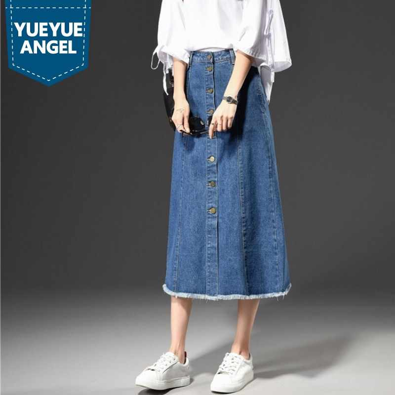 Plus Size Jeans Skirts Woman High Waist Blue Black Ladies Denim Skirts 2019 New Fashion Single Breasted Streetwear A-Line Skirt