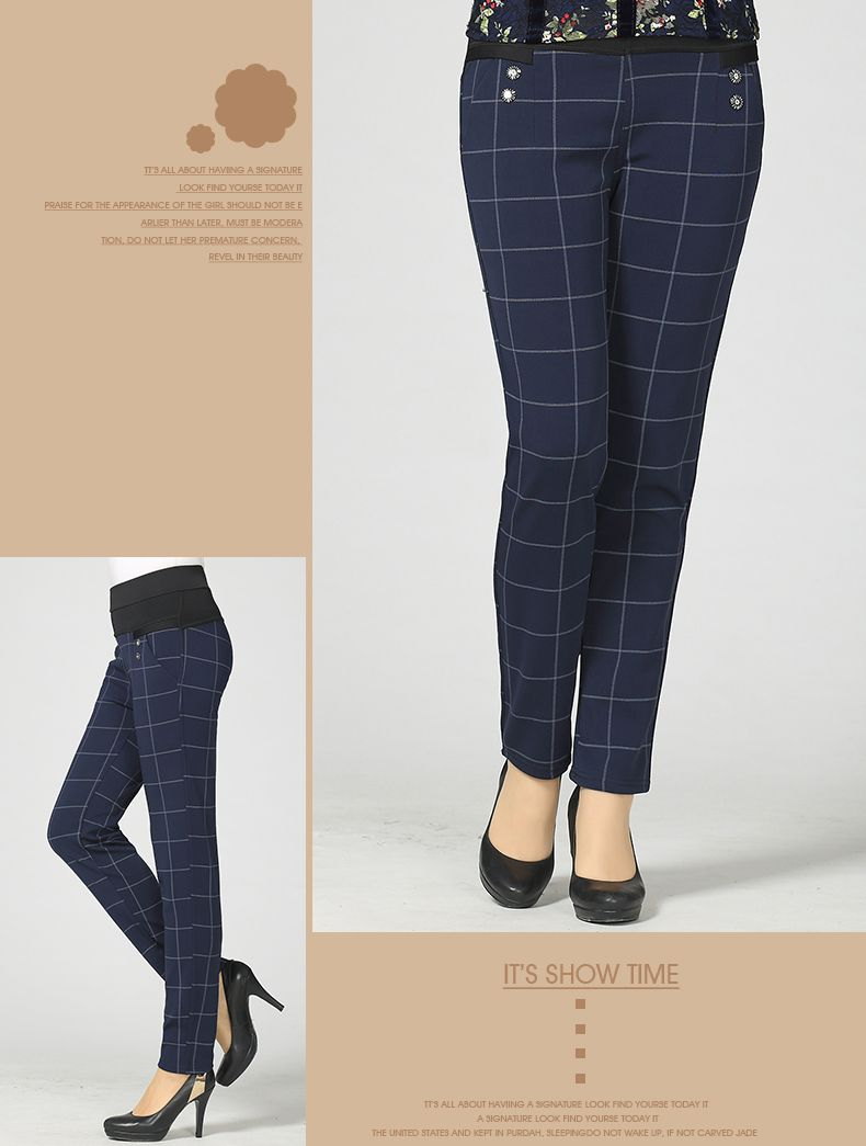 Woman Casual Pant Navy Blue Green Black Plaid Trousers Women Spring Autumn Winter Trouser High Waist Elastic Band Pantalonese Mujer  (8)
