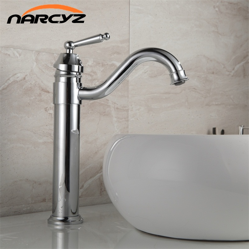 Brass Retro Bathroom Basin Sink Mixer Taps Deck Mounted Single Holder Swivel Spout Chrome Faucet 8018C