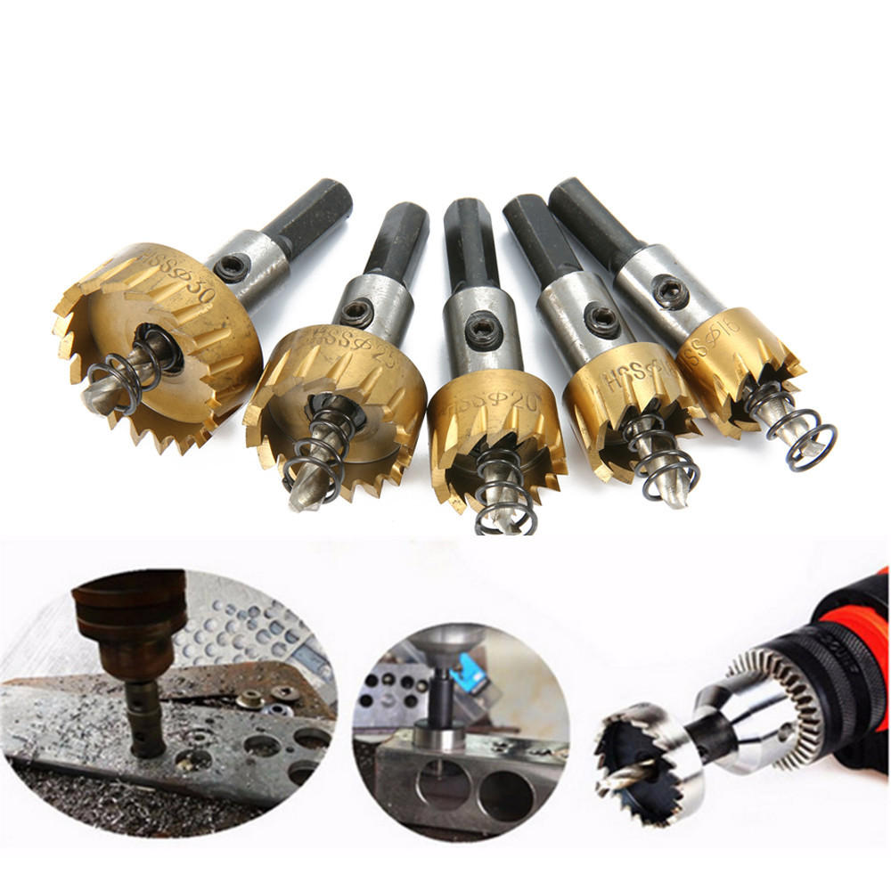 5pcs HSS 6542 Titanium Coated Hole Sawtooth HSS Hole Saw Cutter Drill Bit Set 16/18.5/20/25/30mm