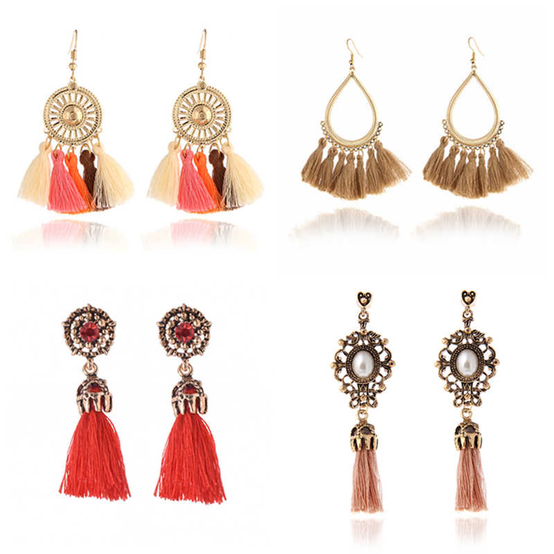 H3 Ethnic Handmade Long Tassel Earrings For Women Bohemian Style Fringe Drop Earrings Statement Ear Jewelry Hot Gift Wholesale