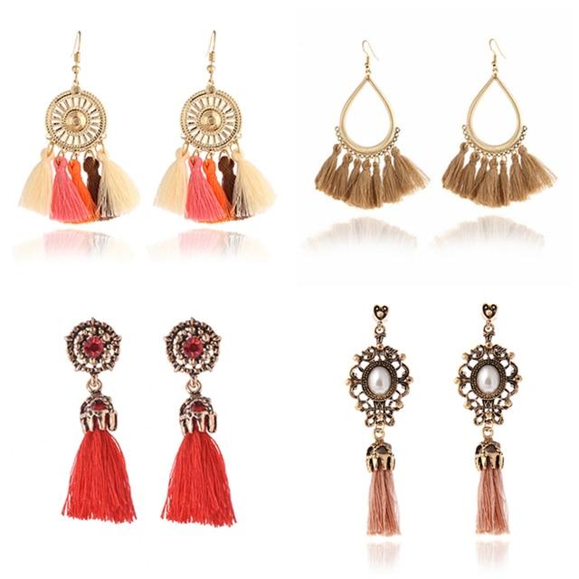H3 Ethnic Handmade Long Tassel Earrings For Women Bohemian Style Fringe Drop Ear