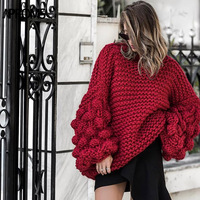 Aproms Winter Handgemachte Gestrickte Oversize Pullover Pullover Frauen Mode 2017 High Neck Warme Jumper Rosa Laterne Hülse Outwear