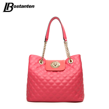 BOSTANTEN 2016 Women Bag Luxury Brand Candy Color Women Leather Handbags Female Large Tote Bag Ladies Chain Bag Sac A Main