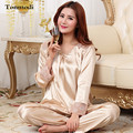 2016 New Silk Pajamas Set For Women Stitch Charm Satin Sleepwear Ladies Pyjamas