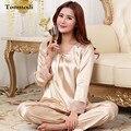 2016 Nuevos Pijamas de Seda Para Las Mujeres Encanto Puntada de Satén ropa de Dormir Pijamas de Las Señoras