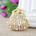 2016 New Fine Metal Key Chain Outer Pearl Inlay Exquisite Handbags Style Gold Keychain Luggage Accessories Car Ornaments