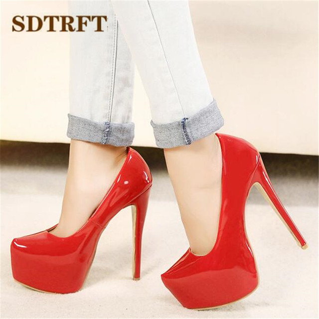 SDTRFT Plus:35-44 zapatos mujer 15cm thin high heels Patent leather platform wedding shoes woman sexy Crossdresser SM pumps 5