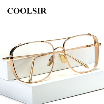 Hot Oversize Square Clear Lens Gold Glasses Frame With Transparent Glasses Women Optical Myopia Eye Glasses Luxury Brand Eyewear 2016 new luxury fashion glasses women brand design big frame clear lens outdoor glasses women ladies with glasses box hot sale