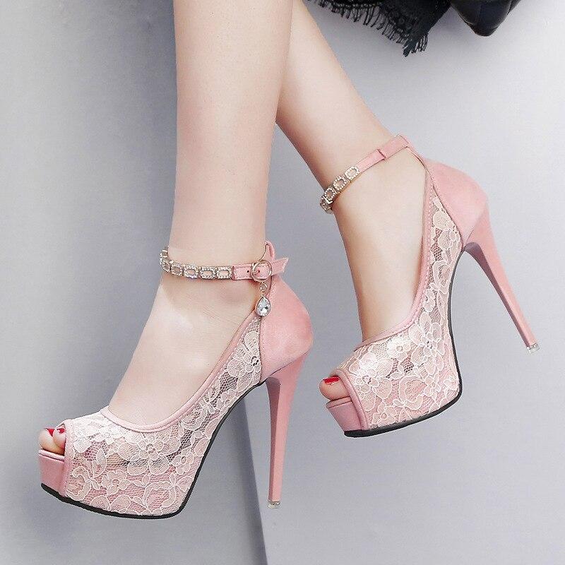 Sexy Heels Women Super High Heel Wedding Pumps 12cm Peep Toe Sweet Sexy Party Shoes Lady