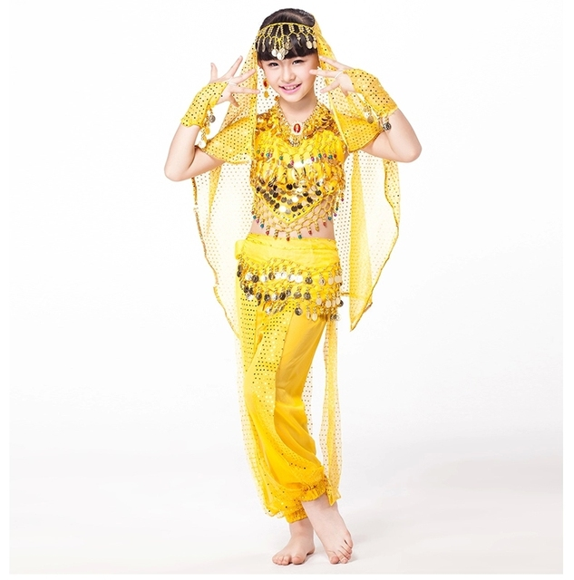 2018 Designer Indian Bollywood Dancing 5-piece Set Coins Headpiece, Top, Belt and Pants Sequin Sleeves Kids Belly Dance Costumes