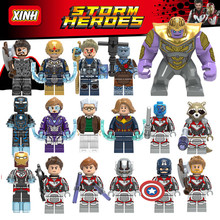17PCS/LOT Avengers Legoing Endgame Thanos Thor Rocket Raccoon War Machine Black Widow Nebula Building Blocks Toys