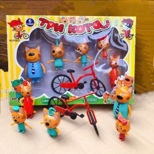 Children's toys Russian cartoon three cats in the Figures new year birthday gifts for Girls Boys Pretend Play with friends