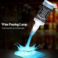 LED Night Light Wine Pouring Lamp 3D Rechargeable USB Touch Switch Illusion Bottle Decoration Light For