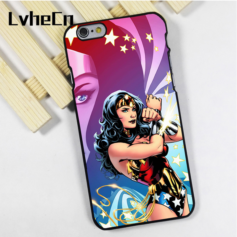LvheCn phone case cover fit for iPhone 4 4s 5 5s 5c SE 6 6s 7 8 plus X ipod touch 4 5 6 WONDERWOMAN CARTOON ART
