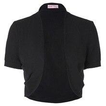 Elegant Ladies Shrug Bolero Casual Cotton Women Bomber Jacket Short Sleeve Pleated Open Stitch Womens Coats Evening Party Shrugs
