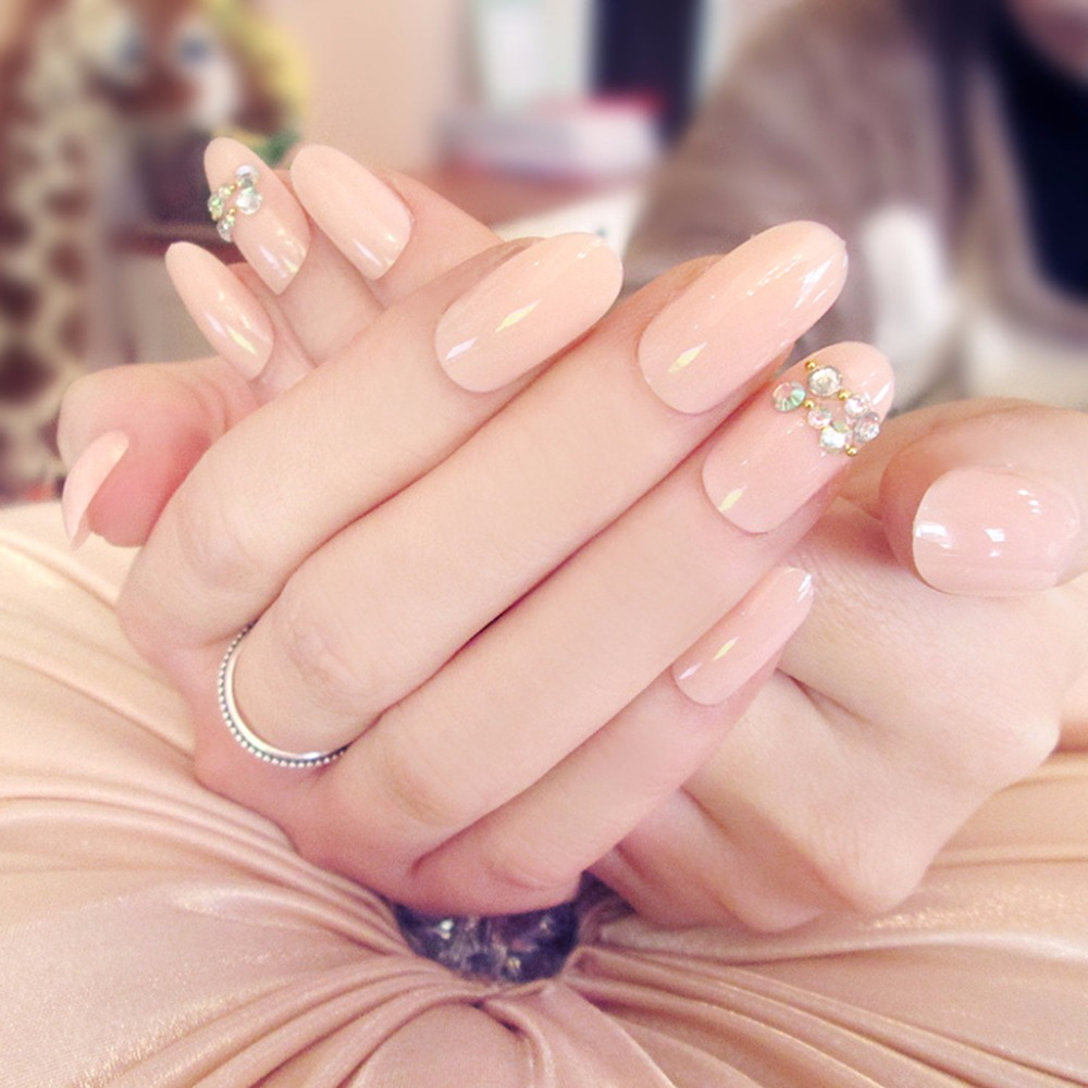 24 Pcs Acrylic Fake Fingernails Full Cover Fake False Nude Pink Nail ...