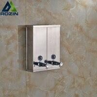 New Chrome Finished Wall Mounted Soap Sanitizer Bathroom Washroom Shower Shampoo Dispenser