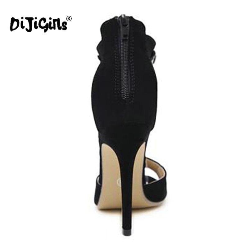 Dijigirls Noir En Embelli Strass Cuir Cristal Sexy Bride Talons Cheville Hauts Chaussures Peep Black À Femmes Suede Toe La Sandales Gladiateur rrdBnq