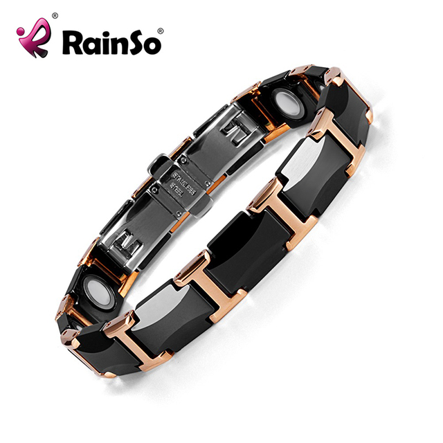 Rainso Black Charm Ceramic Tungsten Steel Energy Magnetic Link Bracelets For Women With Rose Gold