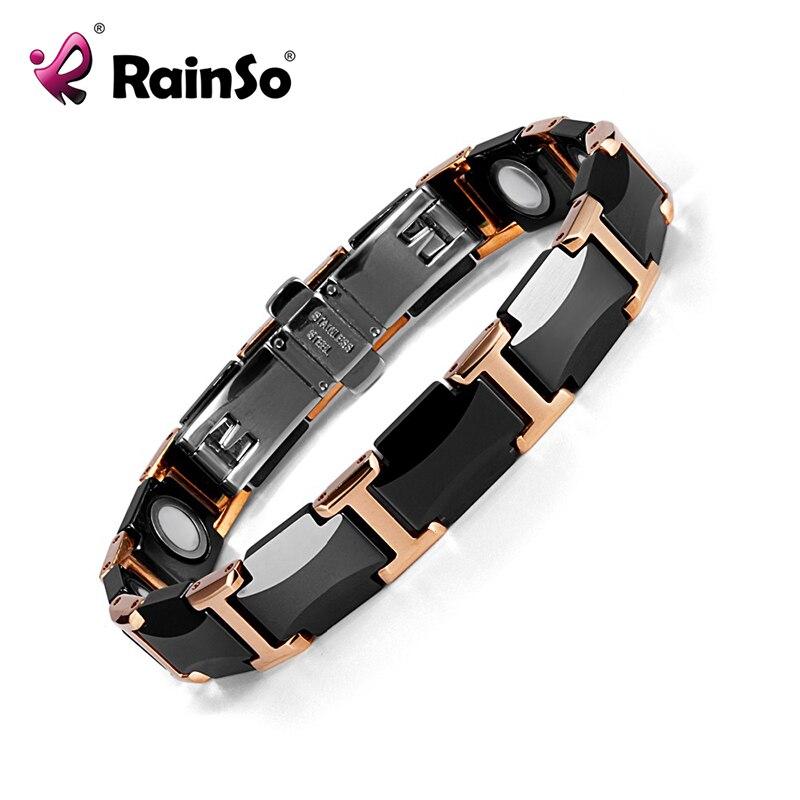 Rainso Black Charm Keramische Wolfraam Staal Energie Power Magnetische Link Armbanden voor Vrouwen Rose Goud kleur ORB 216 01BKRG 2019-in Schakel & Link Armbanden van Sieraden & accessoires op  Groep 1
