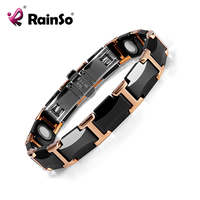 Rainso Black Charm Ceramic Tungsten Steel Energy Power Magnetic Link Bracelets For Women With Rose Gold