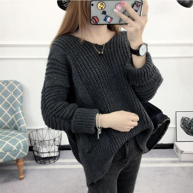Pullover Womens Jumpers 2017 Knitted Black Sweater Women's Autumn ...