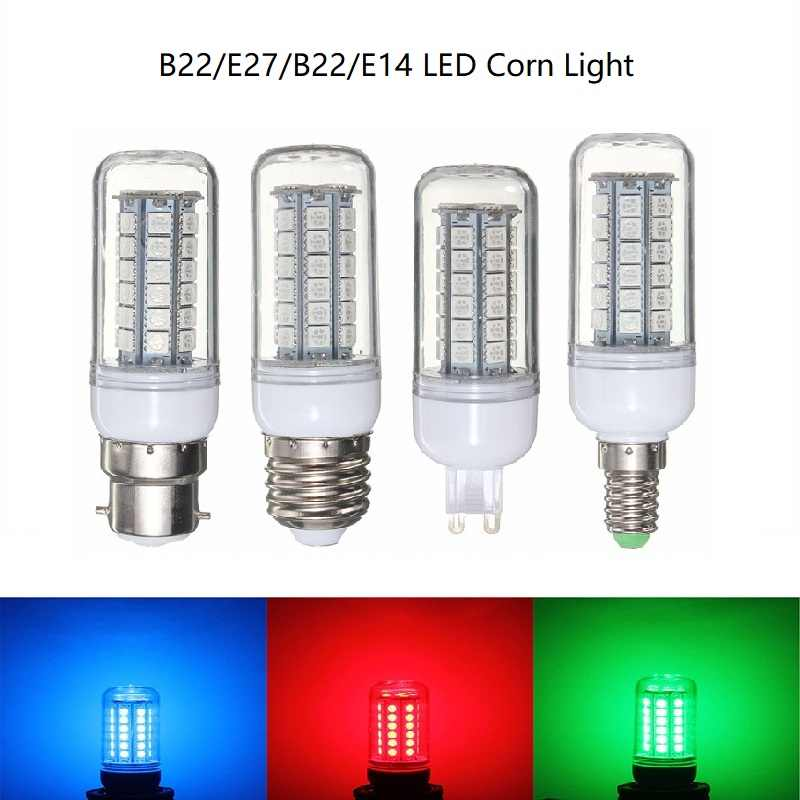 1X 3W 5W LED corn lamp 27/48LEDS SMD5050 Light Bulb E27/E14/G9/B22 LED Spotlight Red/Green/Blue Energy Saving Plastic Lamp Bulb