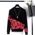 Women New Fashion Contrast Color Tops Three-dimensional Small Flowers Decorated Rabbit Hair Sweater Brand Design Clothing SY714