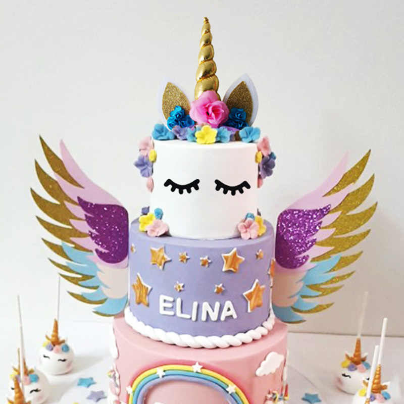 Unicorn Cake Topper Unicornio Horn Ears Decorations Cupcake Toppers Baby Shower Birthday Party Supplies Baking