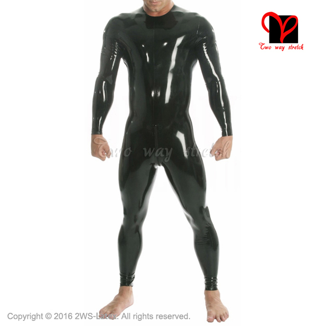 Black long sleeves crotch zip Round collar latex suit Unitard Sexy Zentai overall Latex Catsuit rubber catsuit plus size LT-056